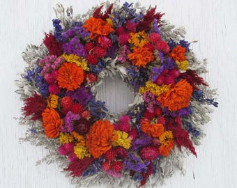 colorful traditional dried flower wreath/bright colorful dried flowers wreath/warm colors dried flower wreath/colorful dried flower wreath