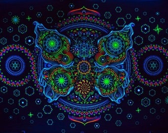 Psy backdrop 'Butterfly Effect - horizontal' UV blacklight active fluorescent psychedelic tapestry  wall hanging decoration goa visual art