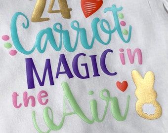 Easter 24 k carrot magic in the air baby girl bodysuit toddler shirt