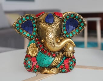 Unique Lord Ganesha Brass Statue in Coral and Turquoise Gemstones -