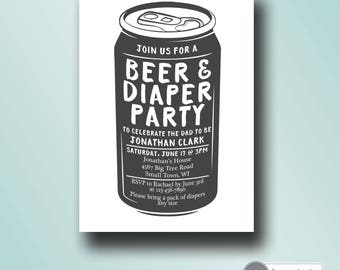 beer and diaper baby shower invitation | dad baby shower | printable couples baby shower invitation | digital invitation template