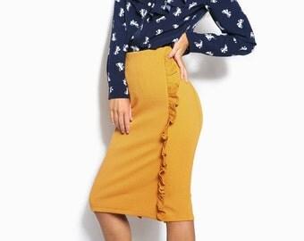 Mustard Pencil skirt for women Length knee skirt Red skirt high waist Knee hobble-skirt Black women skirt  Classic skirt women Skirt office