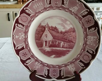 """antique wedgewood of eturia & barlaston china 1954 first edition collector plate 19 5/8"""" - wee kirk of the heather - glendale california art"""