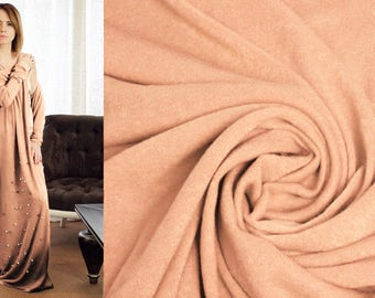 PEACH SAND BISCUIT Fabric, Sweater Knit Fabric by the Yard, Wool Viscose Jersey Material for Cardigans, Soft Cozy Warm Tricot Solid Textile