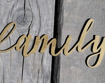 Sale! Family Script Word Wood Sign, Family Wood Sign, Laser Cut Wood Sign, Cursive Wood, Rustic Wall Sign family Personalized Wooden Sign