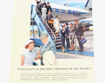 Air France Magazine Advertisement Print Color Original Airline Travel 1960s Passengers Disembarking Jet Stairs Vintage Travel Punctuality