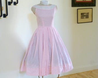 Vintage 1950s Dress Pink and White Circle Skirt,Pink And White Stripe Dress, 50s Day Dress, Rockabilly Pinup Dress