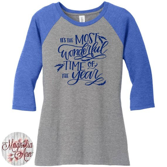 It's The Most Wonderful Time of The Year, Women's Baseball Raglan TShirt in Sizes Small-4X, Plus Size Christmas, Plus Size Clothing