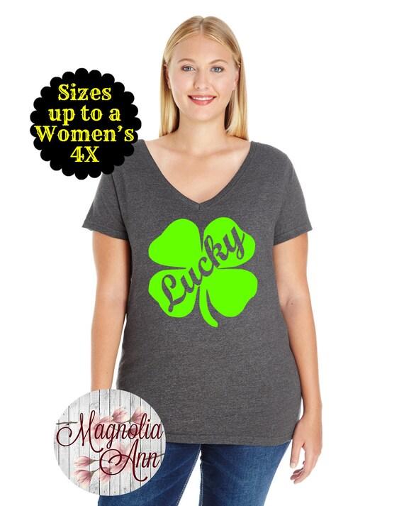 Lucky Shamrock St Patricks Day Women's Jersey V-Neck T-shirt, Plus Size Clothing, Plus Size St Patricks Day, Womens St. Patricks Day T shirt