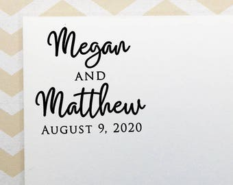 Personalized Wedding Stamp, Wedding Favor Stamp, Engagement Save the Date Stamp, Wood Stamp, Eco Friendly Rubber Stamp, Bridal Shower Gift