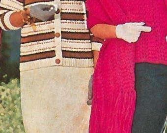 Vintage Striped Women's Button-Up Jacket Knitting Pattern PDF 1958