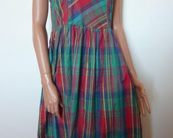 Vintage 80s Galeries Lafayette Indian Made Cotton Dress French Sundress Check Red Green Ric Rac Trim Festival