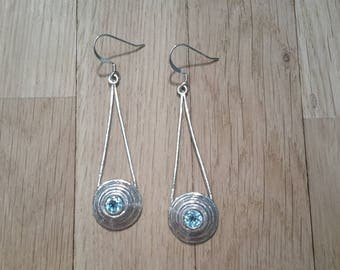 Concentric silver earrings with 5mm Swiss Blue Topaz