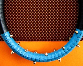 Blue turquoise and black matte statement necklace with spikes