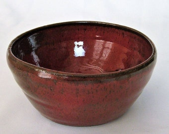 Ceramic Red Bowl, Rustic Pottery Bowl, Stoneware Cereal Bowl, Handmade Farmhouse Pottery Bowl