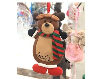 Personalised reindeer christmas decoration