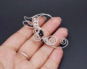 Elf ears earrings Elven jewelry Elf ear cuff Black earcuffs elf Ears cosplay Elf jewelry Ear cuffs no piercing Elven ear cuff ear wrap