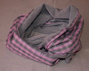 Pink and grey checkered infinity scarf