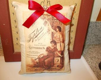 pillow tuck, sale item, mini pillow, cupboard tuck, rustic accent, primitive decor, bowl filler, farmhouse chic, heat transfer image