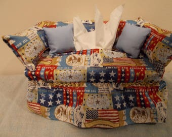 Patriotic American Couch Tissue Box Cover