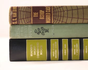 Vintage Green Books | Decorative Books, Wedding Decor, Vintage Book Collection, Cloth Covers