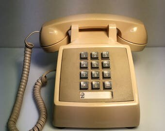 Vintage AT&T Western Electric Beige Push Button Desk Telephone TESTED/WORKS, Push Button Phone, Vintage Desk Phone