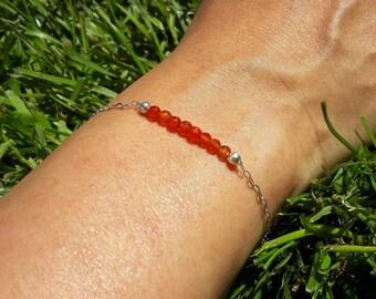Bracelet Cornaline orangé - Argent 925, chaine fine, pierres fines naturelles, semi précieuses, bijou artisanal