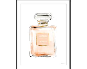Chanel Print. Perfume Print. Perfume Gift. Coco Chanel Perfume Bottle Print. Girls Gift.  Fragrance Print. Wall Art.