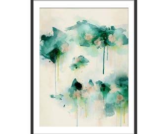 Green Abstract Print. Abstract Art. Green Art. Abstract Painting. Spring Dream Abstract Art Print. Minimal Painting. Wall Art. Wall Decor.