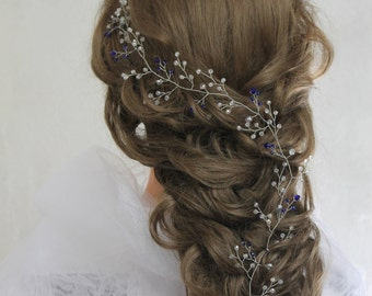 Prom hair Headband bridal wreath halo silver headpiece Wedding crystal vine babys breath wreath Wedding vine long vine Something blue wreath