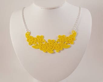 Clothing gift, Yellow lace jewelry, lace necklace, gift for wife, gift for her, anniversary gift, bridesmaid jewelry, gift for mom