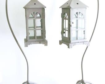 Old lanterns grey pewter and glass doors on tripod iron Lantern