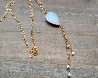 SALE-- Snow Druzy Inverted Teardrop Pendant, Long Moonstone Fringe Necklace