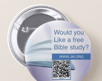 """JW.ORG custom back pin button - would you like a bible study? . With QR code 2.25"""""""