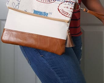 Tan, Red, Blue, Scripted Print Crossbody Bag, Brown Faux Leather, Crossbody Purse, Clutch, Wristlet, Shoulder Bag, Handbag, Birthday Gift