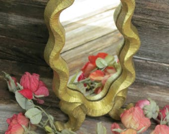 Vintage Scrolly Gold Tabletop Vanity Mirror - Great Decorative Store Counter Display