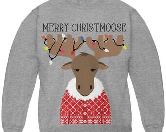 Christmas Merry ChristMoose Moose Youth Sweatshirt