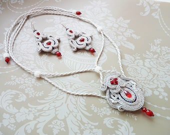 Soutache necklace Wedding necklace Wedding set Red crystal necklace Jewelry set Earrings and necklace set Silver pendant  Necklace on lace