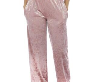 Velvet pants, loose fit, elastic waist