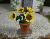 Miniature Yellow Sunflower Fairy Flowers ~ Tiny Yellow Sunflowers in Mini Porcelain Vase ~ Miniature Garden Accessory ~ Fairy Garden Supply