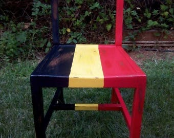 Upcycled oak chair with belgian flag