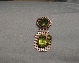 stunning vintage ooak handmade sterling silver and peridot modernist pendant