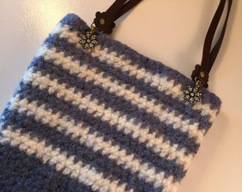 Blue and white stripped felted handbag