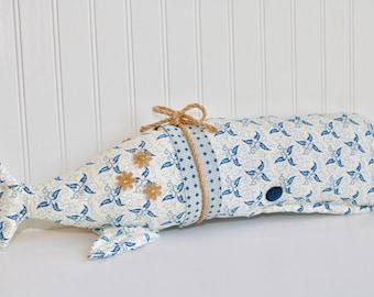 "Handmade Tilda WHALE 22"" SHELF PLUSHIE | blue floral | stuffed animal | handmade | sea creature | home decor | nautical"