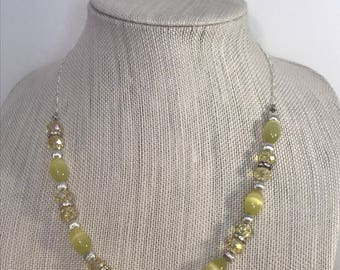 Yellow and Silver Necklace | Beaded Necklace | Layering Necklace | Handmade Jewelry | Yellow Jewelry | Statement Necklace | Single Strand