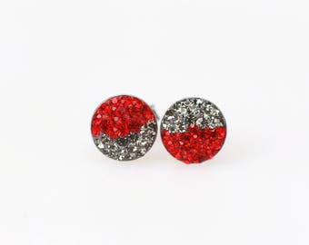 Sterling Silver Pave Radience Stud Earrings, Swarovsky Crystals, Half and Half, BlackDia and Light Siam(Red), Unique Style Stud Earrings.