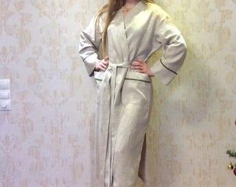 Womens linen robe/Elegant/Full Length/organic Linen bathrobe for women/Summer swim beach cover up for women/Linen BathRobe/Spa linen robe