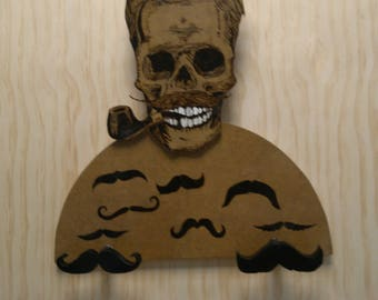 Coat rack skull  For hairdressers, hipster, for barber, beard, mustaches, pyrography, grooming,