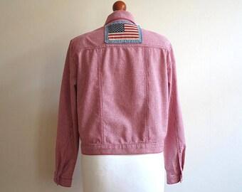 American Flag Application Red White Gingham Plaid Jacket Cropped Jacket Womens Blazer Medium Size