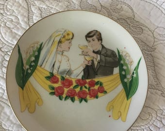 Vintage Bride and Groom Decorative Wedding Toast Plate - Spencers Gifts Circa 1975